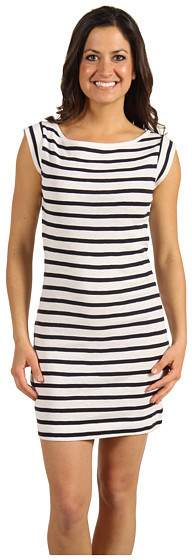 French Connection - Scott Stripe Capped Sleeve Dress