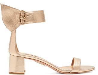 Aquazzura Palace 50 Block Heel Metallic Leather Sandals - Womens - Gold