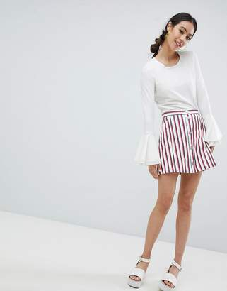 Monki stripe mini skirt in white
