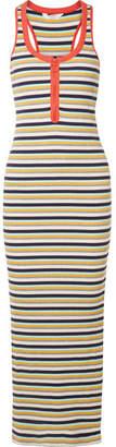 Splendid Margherita Banda Striped Stretch Cotton-blend Maxi Dress - Yellow