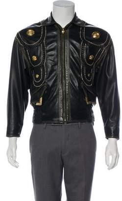 Gianni Versace 1993 Medusa Embellished Leather Jacket