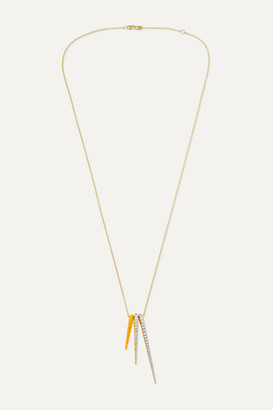 Melissa Kaye Lola 18-karat Yellow And Rose Gold, Diamond And Enamel Necklace