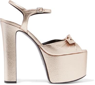 Saint LaurentSaint Laurent - Bow-embellished Metallic Textured-leather Platform Sandals - Platinum
