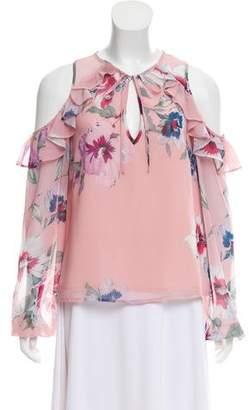 Yumi Kim Floral Print Cold-Shoulder Top w/ Tags