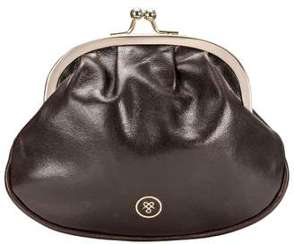 Maxwell Scott Bags Dark Brown Leather Ball Clasp Coin Purse For Women