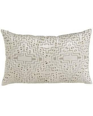 "Callisto Home Vincent Linen Pillow with Beaded Velvet Design, 30"" x 18"""