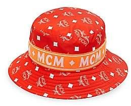 MCM Men's White Logo Nylon Bucket Collection Hat