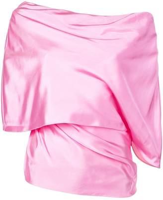 Rosie Assoulin slash neck folded blouse
