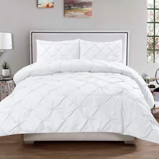 Hudson 3 Piece Pinch Pintucked Pintuck Polyester Comforter and Sham Set