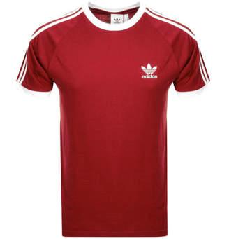 fa2ca187 adidas California 3 Stripe T Shirt Red
