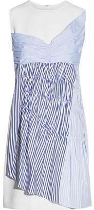 Victoria Beckham Victoria Paneled Ruched Cotton-Twill Mini Dress