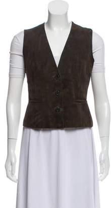 Akris Suede Button-Up Vest Brown Suede Button-Up Vest