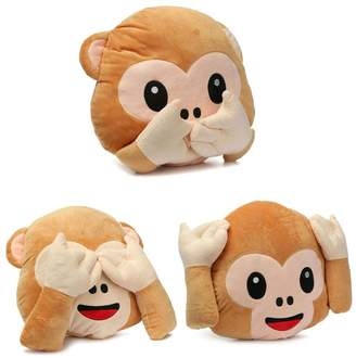 Generic BestOfferBuy Set of 3 Emoji See Hear Speak No Evil Monkey Pillow Cushion Plush Stuffed Toy