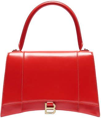 Balenciaga Medium Hourglass Top Handle Bag in Bright Red | FWRD