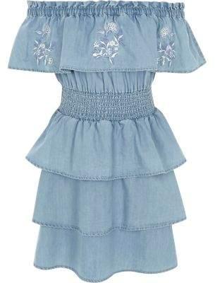 River Island Girls blue denim rara frill bardot dress