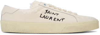 Saint Laurent Off-White Embroidered SL/06 Court Classic Sneakers $545 thestylecure.com