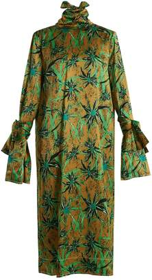 Marni Long-sleeved Herbage-print midi dress