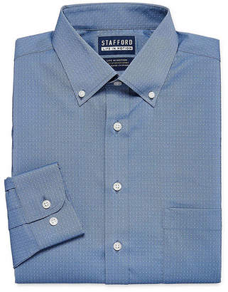 STAFFORD Stafford Poly Span Big And Tall Long Sleeve Woven Gingham Dress Shirt