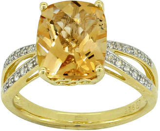 JCPenney FINE JEWELRY Genuine Cushion-Cut Citrine & Lab-Created White Sapphire Ring