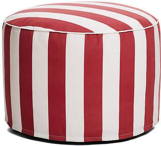 One Kings Lane Cabana Stripe Outdoor Ottoman - Red/White