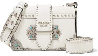Prada Cahier Embellished Leather Shoulder Bag - White