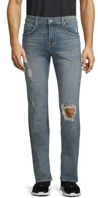 7 For All Mankind Slimmy Stretch Cotton Ripped Jeans