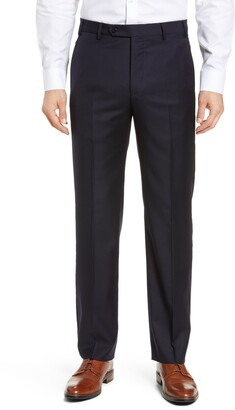 Zanella Todd Relaxed Fit Flat Front Solid Wool Trousers