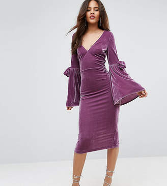 Asos Tall TALL Velvet Flute Sleeve Midi Dress