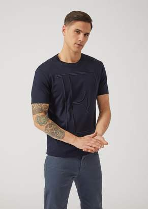 Emporio Armani Cotton Interlock T-Shirt With Embroidered Initials
