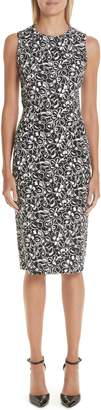 Michael Kors Painterly Floral Stretch Cady Sheath Dress