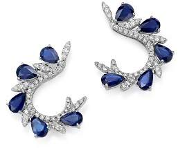 Bloomingdale's Diamond & Blue Sapphire Front-Back Hoop Earrings in 18K White Gold - 100% Exclusive