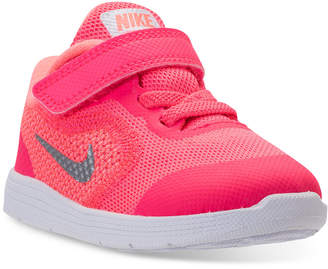 Nike Toddler Girls' Revolution 3 stay-put closure Running Sneakers from Finish Line $43.99 thestylecure.com