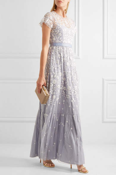 Needle & Thread - Meadow Embroidered Tulle Gown - Light blue 4