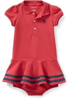 Ralph Lauren Short-Sleeve Striped-Hem Knit Polo Dress, Size 9-24 Months