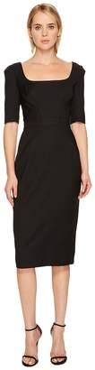 Zac Posen Tropical Wool Short Sleeve Scoop Neck Dress Women's Dress