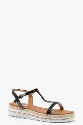 boohoo Grace Diamante T Bar Cleated Sandals