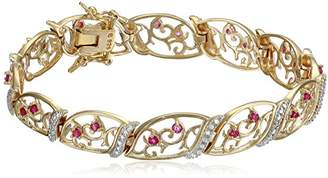 18k Yellow Gold Plated Sterling Silver Genuine Ruby and Diamond Accent Bracelet