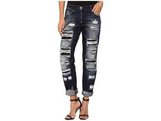 Philipp Plein Dark Wash Boyfriend Cut Distressed Denim in Dark Blue Women's Jeans