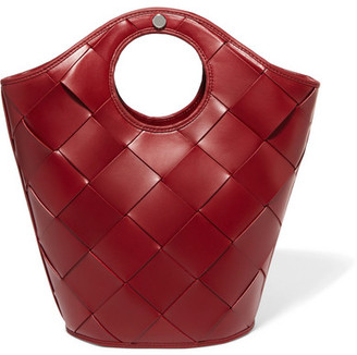 Elizabeth and James - Market Small Woven Leather Tote - Claret $545 thestylecure.com