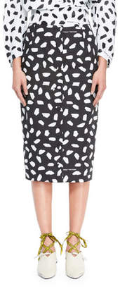 Off-White Button-Back Dot-Print Straight Midi Skirt