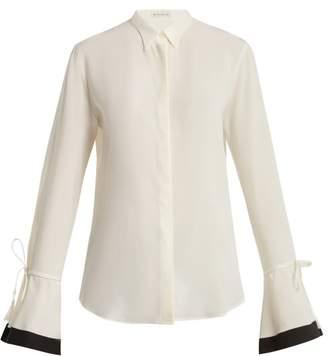 Etro Adventurine Contrast Trimmed Silk Crepe Blouse - Womens - White Black