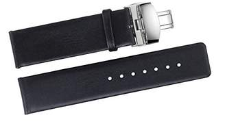 autulet 16mm Luxury Women's Black Leather Watch Bands Thin Genuine Italian Calfskin with Deployment Butterfly Clasp Buckle for High-end Brands