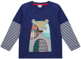 Lilly and Sid Lilly And Sid Bear Patch Applique Mock Sleeve Top