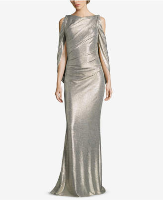 Betsy & Adam Cold-Shoulder Metallic Gown