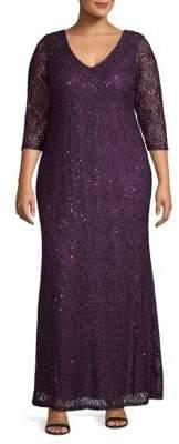 Marina Plus V-Neck Lace Column Gown