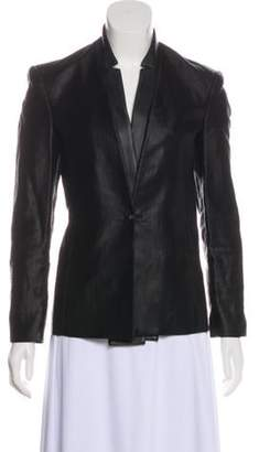 J Brand Leather-Accented Button-Up Blazer Black Leather-Accented Button-Up Blazer