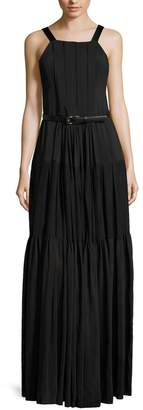Vera Wang Women's Pleated Bib Neck Apron Gown