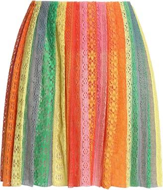 Valentino Pleated Striped Cotton-blend Lace Mini Skirt