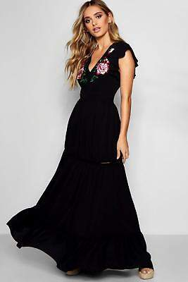 boohoo NEW Womens Embroidered Ruffle Hem Maxi Dress in Polyester