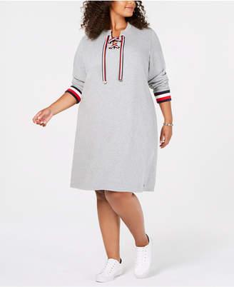 Tommy Hilfiger Plus Size Striped-Trim Sweatshirt Dress
